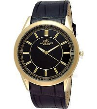 NEW Adee Kaye AK2219-MG Mens Leather Strap & Gold Stainless Steel Case Watch 30M
