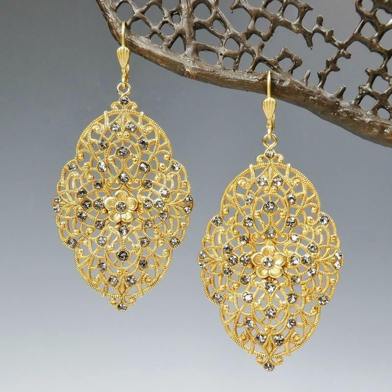 0ca87022cd8e4 La Vie Parisienne Catherine Large Filigree Earrings Crystal Popesco ...