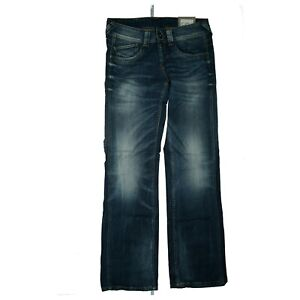 Pepe-Jeans-OLYMPIA-Women-Pants-Comfort-Relaxed-29-34-W29-L34-Used-Look-Blue-New