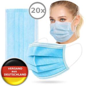 20x Einwegmaske Atemschutz Maske Gesichtsmaske Schutzmaske Mundschutz 3-lagig