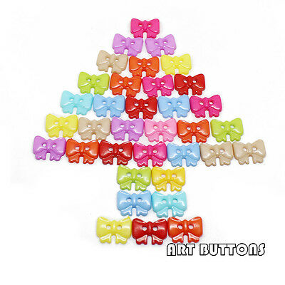 200pcs Mixed Colors plastic bowknot Buttons Fit Sewing or Scrapbooking 10mm*14mm