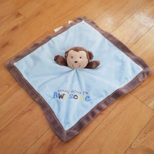 Carters-Blue-Monkey-Comforter-Mommy-Thinks-I-039-m-Awesome-Soother-Blankie-Dou