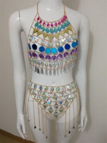 Colorful Sequins Crystal Halter Camisoles Bikini Bra Set Jewelry Body Chain New