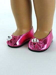 Sparkly Diamond Bow Flats Shoes fits American girl dolls  Hot Pink
