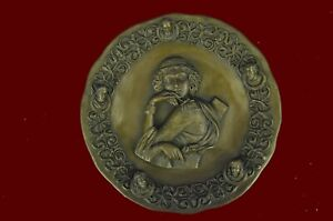 Museum-Quality-Bronze-Sculpture-Art-Nouveau-Bas-Relief-Roman-Girl-Real-Figurine