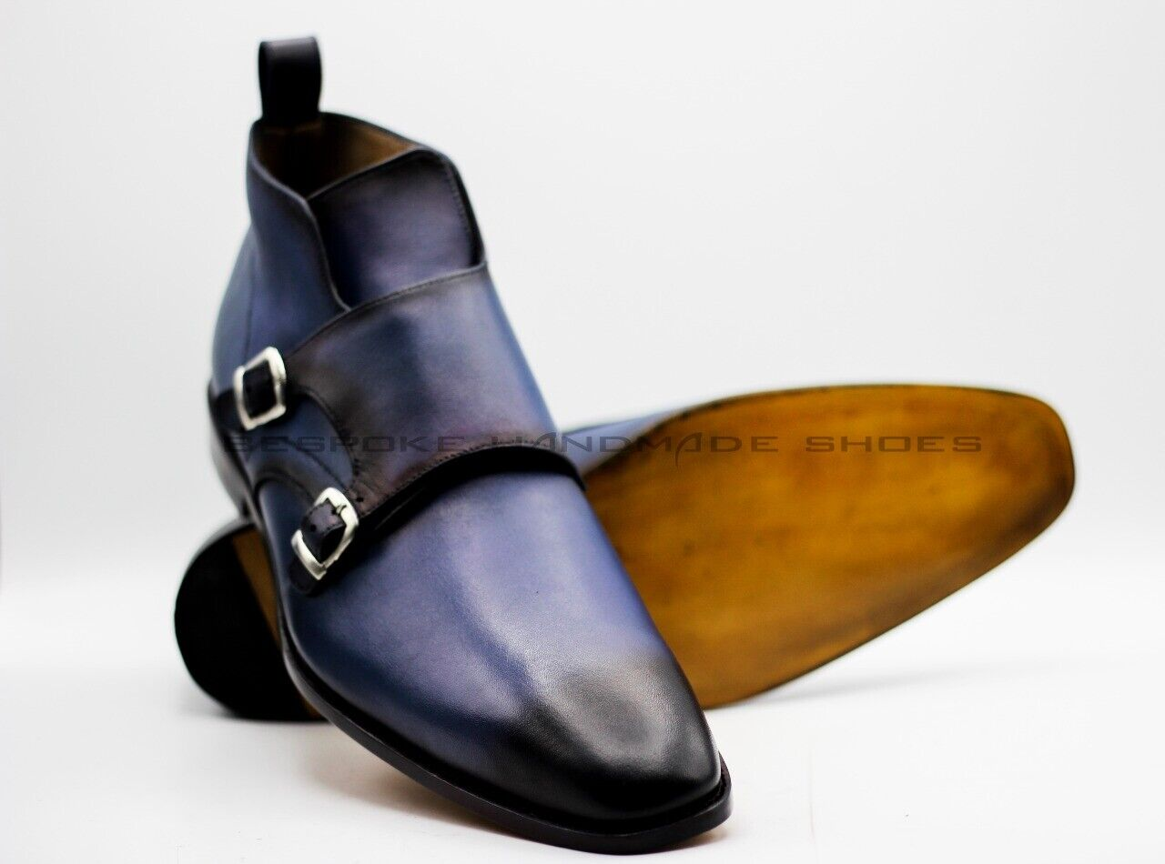 Handmade Men's Genuine bluee Leather Ankle Double Monk Strap Buckle Boots
