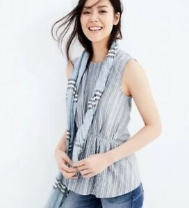 J.Crew Women's Sz Large Cinched Sleeveless Tunic Top Gray Striped Relaxed