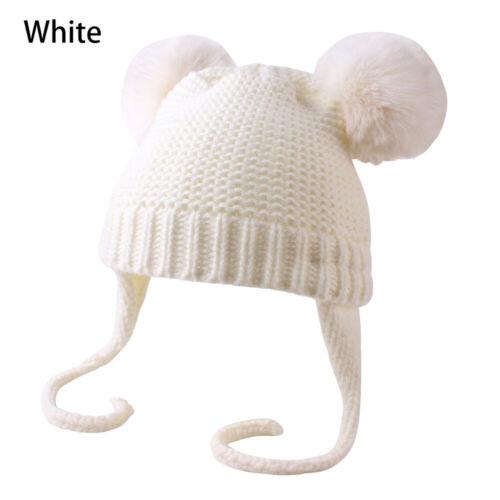 Boy Girls Winter Warm Double Fur Pom Bobble Knit Beanie Hat Cap
