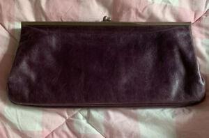Preowned-Hobo-International-Clutch-Purse-Wallet-Leather-Purple-Lock