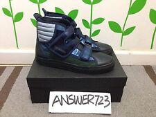 Raf Simons Blk/Nav/Green Hi-Top Leather Trainers Sneakers Sz42 SL Adi Original