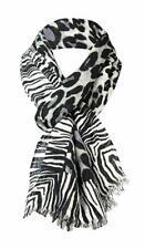 Collection XIIX Women/'s Cheetah Zebra-Border Wrap Scarf OS, Silver Lining