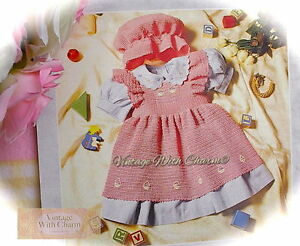 Vintage Crochet Pattern For Baby Girls Pinafore Dress Mop Cap 3