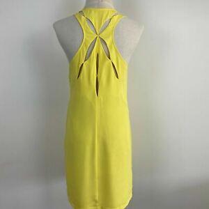 Ladakh Womens Yellow Scoop Neck Sleeveless Cut-out Racer Back Dress Size 10