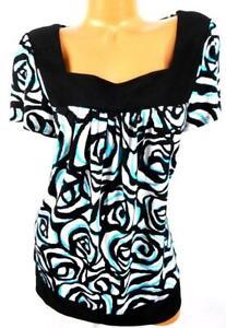 Fashion-bug-black-blue-floral-print-square-neck-short-sleeve-women-039-s-top-0X-XL