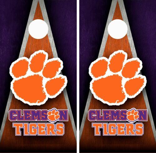 Clemson Tigers Cornhole Wrap Skin Board College Sports Vinyl Decal GC165