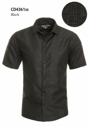 Men/'s Fashion dress Short//Sleeve Button-Front Casual shirt solid shiny black