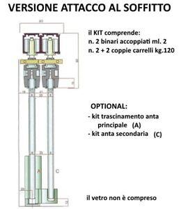 Binari Per Ante Scorrevoli In Vetro.Dettagli Su Binario Duplex Kit Per Porta Doppia Anta Scorrevole Per Vetro Cm 200 Kg 120
