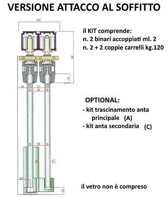 Binari Per Ante Scorrevoli In Vetro.Binario Duplex Kit Per Porta Doppia Anta Scorrevole Per Vetro Cm