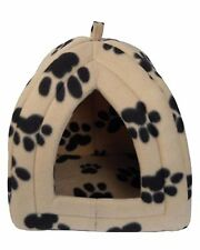 IGLOO PET BED FLEECE SMALL DOG PUPPY POLAR RABBIT CAT PYRAMID HUT KENNEL TRAVEL