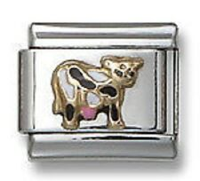 Stainless Steel 18kt Gold Enamel Cow Italian Charm Silver Links Free Shipping