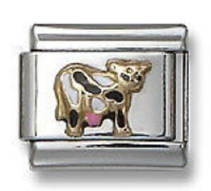 Stainless-Steel-18K-Gold-Enamel-Cow-Italian-Charm-Silver-Links-Free-Shipping