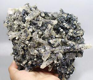 6-46lb-Natural-CLEAR-Quartz-Crystal-CLUSTER-POINT-amp-specular-hematite-specimen