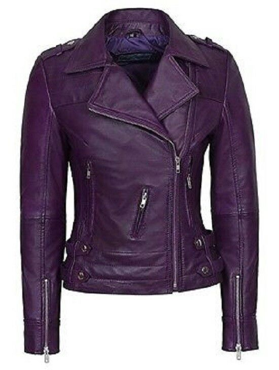 NOORA Ladies Purple 5816 Napa Biker Style sexy fitting classic Leather NI-124