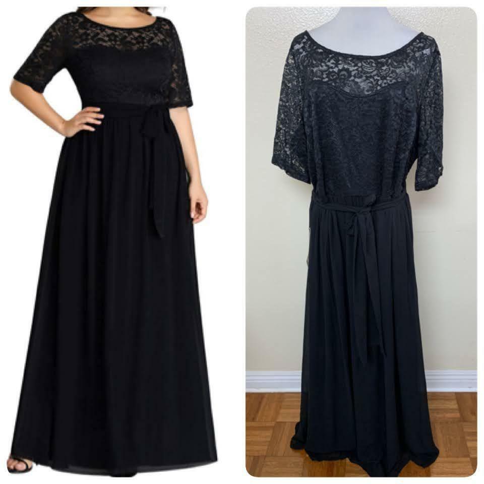 Ever-Pretty MOTB Long Chiffon Lace Simple Plus Size Evening Dress 24 Black 7624