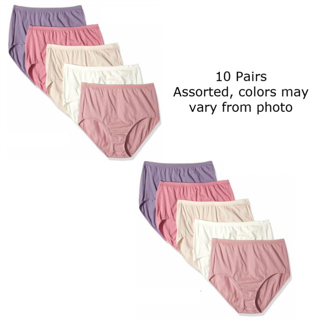 Womens Plus-Size Cotton Panty Full-Coverage Briefs Solid Color Underwear Size10