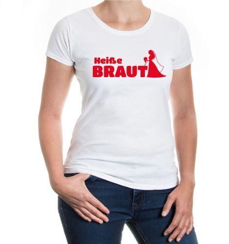 Damen Kurzarm Girlie T-Shirt Heiße Braut Junggesellenabschied JGA Hochzeit