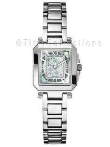 Détails sur Nouvelle Collection GUESS graphique Cubes diamants argent sterling Bracelet Dame Montre Nacre Date G51100L1 Argent afficher le titre