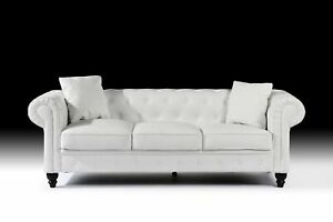 White Living Room Couch 3 SeatBonded Leather Scroll Arm ...