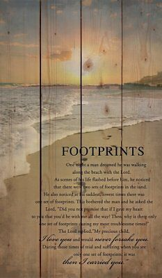 Footprints in The Sand Poem Rustic Wood Wall Art Home Family Decoration Design Wooden Sign Plaque Sign 5inches X10inches