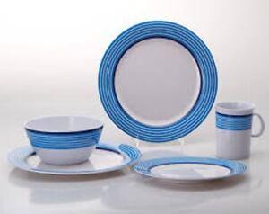 gimex melamin 16 tlg camping geschirr set trendline blau henkelbecher u teller ebay. Black Bedroom Furniture Sets. Home Design Ideas