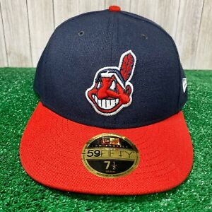 New-Era-59Fifty-Hat-On-Field-Cleveland-Indians-Chief-Wahoo-5950-Cap-Sz-7-1-2-MLB