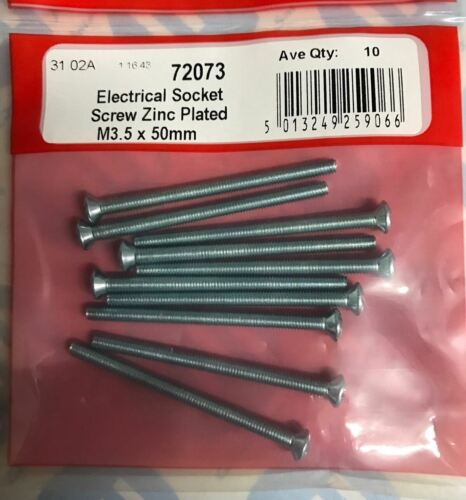 10 Electrical Socket Screw Zinc Plated M3.5 x 50mm DIY Repair Machine Switch