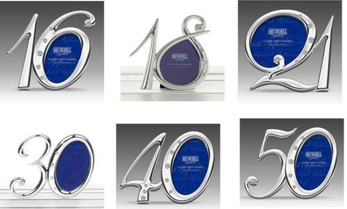 16th 18th 21st 30th 40th 50th Anniversaire Argent Diamante numéro Cadre Photo Cadeau