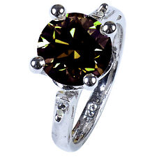 2.61ct vs1/WHITE BROWN REAL MOISSANITE & NATURAL BLACK DIAMOND .925 SILVER RING