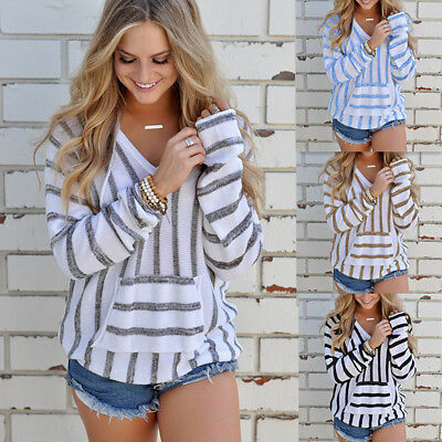 Fashion Women Striped Hooded Knitwear Sexy V Neck Sweater Casual Loose Knit Tops