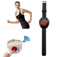 Wireless Sos Wristband Panic Button Alarm Sensor Emergency 433mhz Black Us Stock