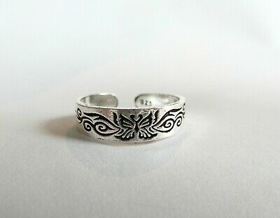Sterling Silver Tribal Plain Twisted Oxidised Toe Ring