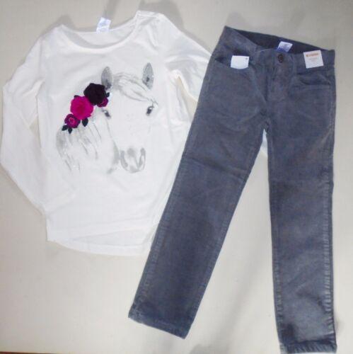 Gymboree Girls Corduroy Pants Flower Leggings Horse Tee Size  5 NWT