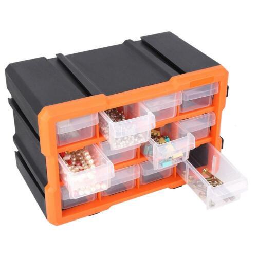 12 Grids Small Parts Plastic Drawer Organizer Hardware Storage Box Cabinet Bin