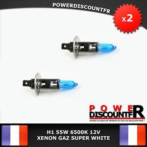 Kit-DE-2-Ampoule-Lampe-Halogene-Feu-Phare-XENON-GAZ-SUPER-WHITE-H1-55W-6500K-12V