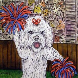 Bichon Frise at the wine bar dog art tile coaster gift