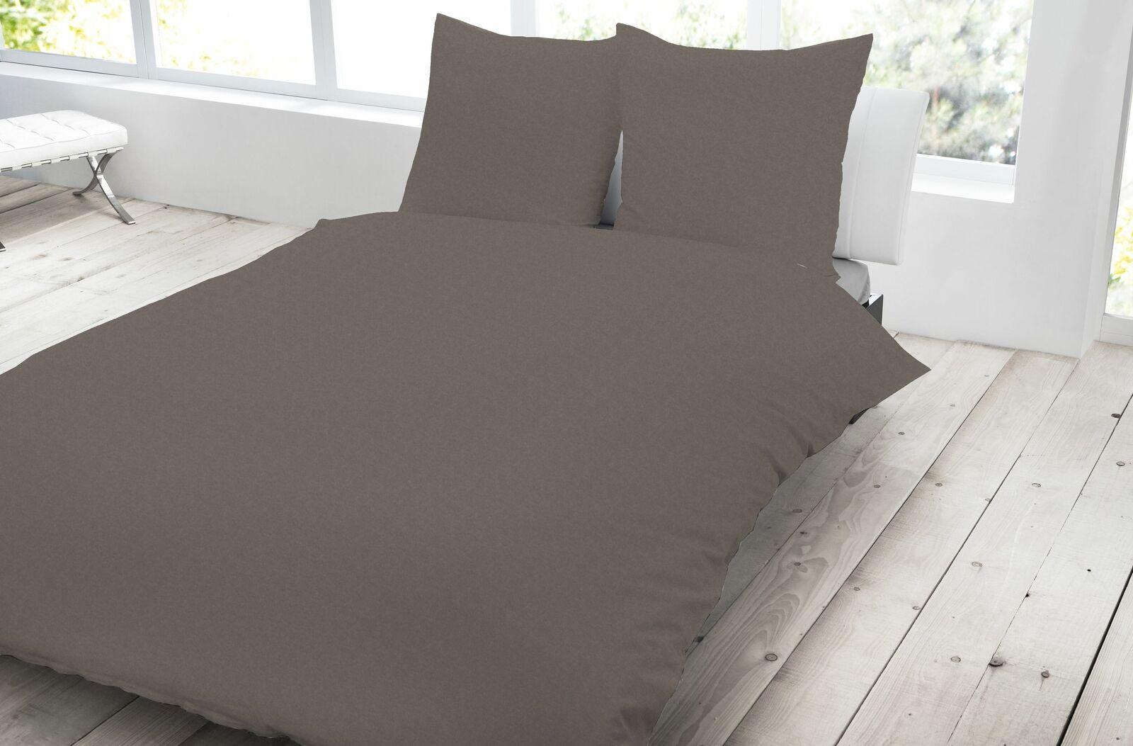 3 tlg Jersey Bettwäsche 200x200 cm braun meliert Melange Baumwolle Set