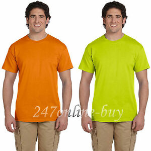 550d1f19 Gildan Mens Ultra Cotton T-Shirt Safety green and Safety Orange Tee ...