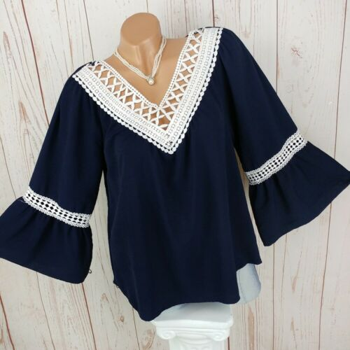DRESSARA Tunika Shirt Trompetenärmel Häkelspitze Shabby Chic Boho S M L XL XXL