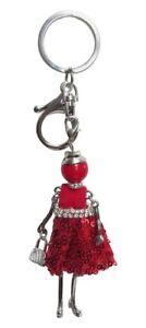 Porte-cles-bijoux-de-sac-poupee-robe-rouge-avec-strass-blanc