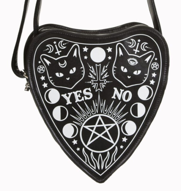 Banned Handbag Pentagram Occult Symbols Cats Kitty Black Heart Goth